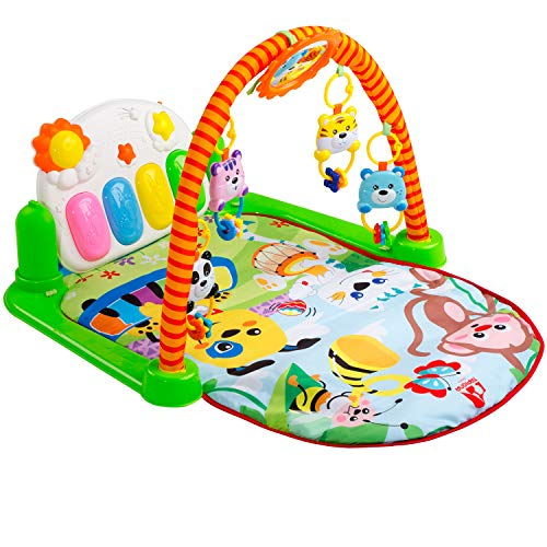 Tapiona Baby Gym Piano - Kick and Play Mat, Activity Mat Infant - Newborn Toys Boy and Girl 0-3 Years for Tummy Time, Lay and Play, Sit and Play - Gift Registry Baby Shower - Mirror, 4 Baby Toys