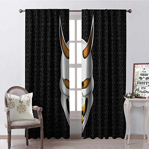 Hengshu Halloween Japanese Conventional Wisdom Mask Room Darkening Wide Curtains Decor Curtains by W120 x L108]()