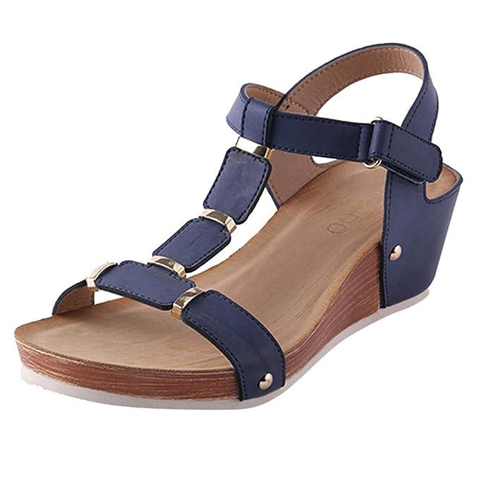 Darringls_Sandalias de Primavera Verano Mujer,Sandalias Mujer Verano Bohemia Sandalias de tacón de cuña Zapatos de Verano Plataforma Peep Toe Sandalias ...