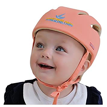 681f660ccf1 Amazon.com   Toddler Safety Helmet 100% cotton Adjustable Baby Safety  Helmet Infant Head Guard Protective Harness Hat (Orange)   Baby