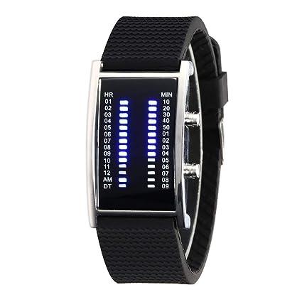 Relojes de pulsera de moda unisex luminoso mes visualización calendario hora mundial reloj de pulsera rectangular