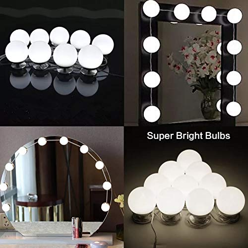 Hollywood Style LED Vanity Mirror Lights Bulbs Kit, Smart Dimmer Fixture Strip for Makeup Vanity Table Set in Dressing Room,Bedroom (10pcs LED light bulbs-USB charge) (Incandescent Table Hollywood Lamp)