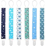 Pacifier Clip for Boys and Girls 6 Pack Plastic Teething Clips Modern Designs Universal Holder Leash for Pacifiers Teething Toy and Soothie by Yoofoss