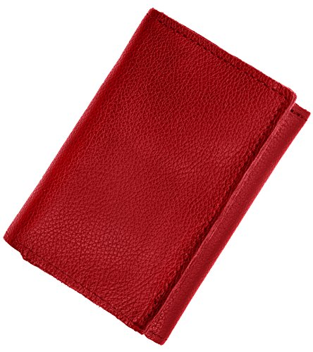 Mens Top Grain Leather Tri-Fold Wallet, 16 credit card slots,Made in (Red Mens Wallet)