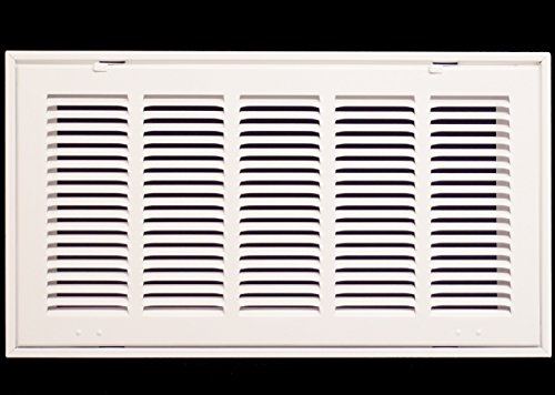 20 X 10 Steel Return Air Filter Grille for 1 Filter - Fixed Hinged - Ceiling Recommended - HVAC Duct Cover - Flat Stamped Face - White [Outer Dimensions: 22.75w X 12.75h]