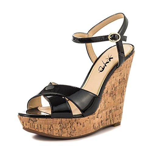 XYD Comfort Platform Cork Wedges Slingback Shoes Peep Toe Sandals