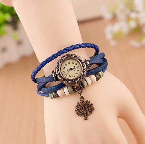 Hosaire Watch Bracelet Vintage Multilayer Weave Wrap Around Leather Chain Bracelet Quartz Wrist Watch with Tree Pendant for Women Men White by Hosaire (Image #7)