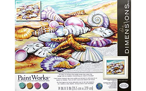Dimensions 73-91526 Seashells on The Beach Paint by Numbers for Adults, 14'' W x 11'' L