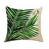 Wicemoon Hand-painted Tropical Flowers Birds Leaves Plants Cotton Car Pillowcase Cushion Home Decor Square Pillow Case Throw Cushion Cover Pillow Cover ( Does not Include Pillow)