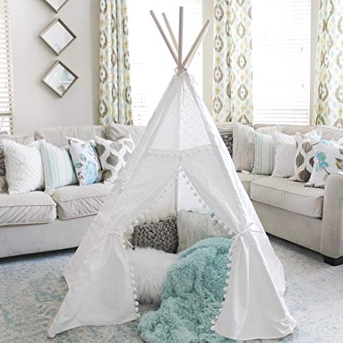 (little dove Kids Teepee Tent 6' Children Indian Play Tent for Indoor Outdoor Lace and Pompom Ball Design with Mat)