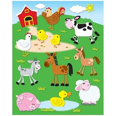 Carson Dellosa Farm Shape Stickers (168020): Office Products