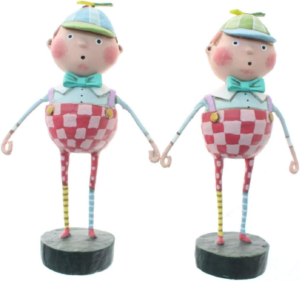 "Lori Mitchell 12274 Tweedledee & Tweedledum from Alice in Wonderland Set of 2 Figurines 6"""