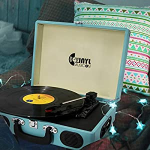 Record Player, VMO Vinyl Turntable with 2 Built-in speakers, 3-Speed Portable Vinyl LP Player, RCA Output, AUX in, Headphone Jack (Blue)