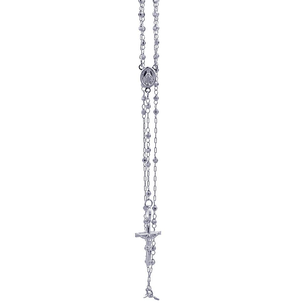 14K White Gold Chain 3mm Bead Rosary Chain Necklace (16, 18, 20, 24 Inches), 24'' by Double Accent (Image #3)