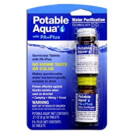 Potable Aqua Water Purification Tablets With PA Plus - Two 50 count Bottles 1 One Bottle of 50 Potable Aqua Germicidal Water Purification Tablets With One Bottle of 50 PA Plus Makes contaminated water bacteriologically suitable to drink within 35 minutes Effective against bacteria and Giardia lamblia