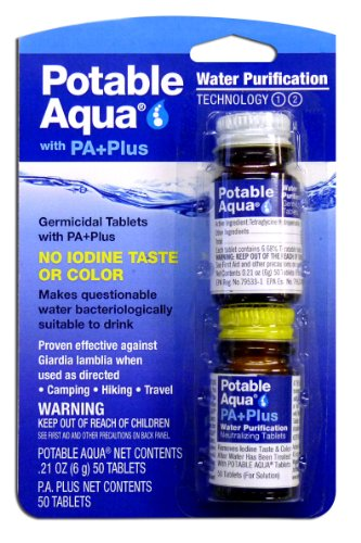 Potable Aqua Water Purification Tablets with PA Plus neutralizing tablets - Portable Drinking Water Treatment for Camping, Emergency Preparedness, Hurricanes, Storms, Survival, and Travel (50 Tablets) ()