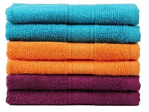 Trident 400 GSM 6 Pieces Wash Cloth Towels - Teal sachet, Orange and Deep Purple (Orange Washcloths)