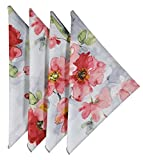 Cloth Napkins 18 Inches Linen Napkins Table Linens Cotton Fabric Set of 12 Floral Berry