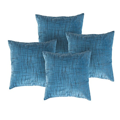 - Deconovo Intersecting Line Pattern Throw Cushion Covers Embossed Velvet Pillow Case, 18x18 Inch-4 Pcs, Sky Blue