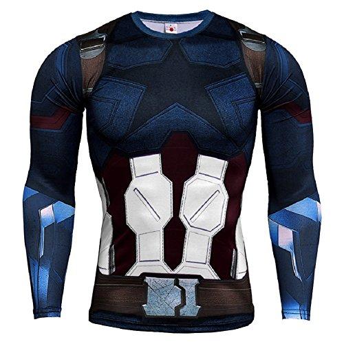 Cosfunmax Superhero Captain Team Leader Compression Shirt Sports Gym Ruining Base Layer 2XL