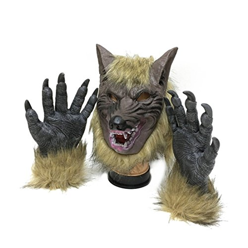 Werewolf Costume Wolf Claws Gloves and Head Mask for Halloween, Cosplay Costume Party