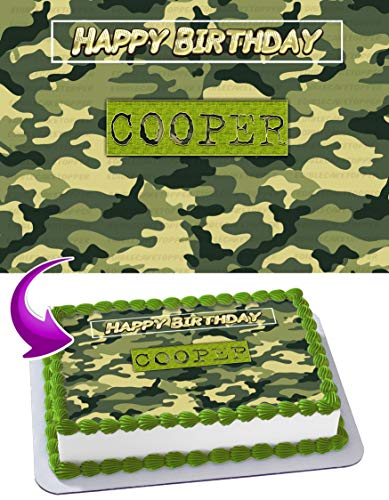 Camouflage Edible Cake Image Topper Personalized Birthday 1/4 Sheet Custom Sheet Party Birthday Sugar Frosting Transfer Fondant Image ~ Best Quality Edible Image for -