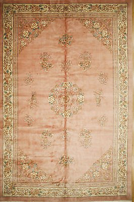 - 12 x 18 Hand Knotted Oriental Rug Chinese AUBUSSON Pink