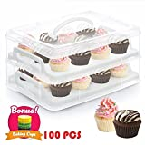 24 Cupcake Carrier 2 Tier Cake Holder Courier Store Up To 2 Large Cakes or 24 Cupcakes Cookies Muffins Dessert, Stacking Cupcake Storage Container with Handle, 100 Paper Baking Cup Included