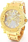 Super Techno Diamond Watch Mens Genuine Diamond Watch Oversized Gold Case Metal Band w/ 2 Interchangeable Bands