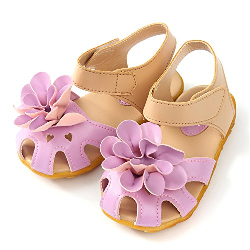 Daved8Co Girls Shoes Baby Girls Sandals Shoes Toddlers Infant Children Kids Flower Shoes Pu Leather Size 21-30 Purple - Nyc H Kids And M