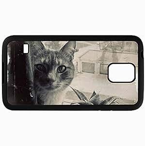 Fashion Unique Design Protective Cellphone Back Cover Case For Samsung GalaxyS5 Case Cat Face Plant Flower Black White Black