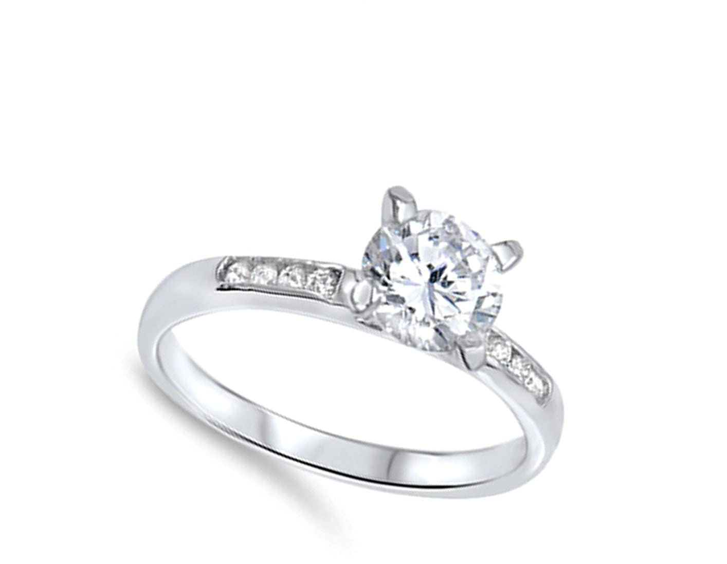Women/'s Wedding Solitaire White CZ Ring New .925 Sterling Silver Band Sizes 5-10