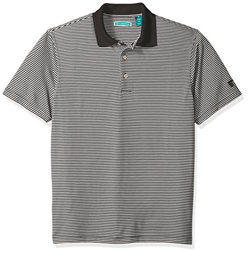 Cubavera Men's Short Sleeve Stripe Textured Performance Polo Shirt, Jet Black, Large -