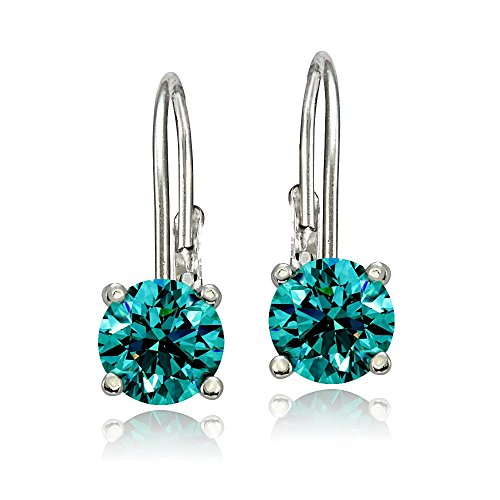 Bria Lou 925 Sterling Silver 6mm Round December Birthstone Color Leverback Drop Earrings Made with Swarovski Crystals