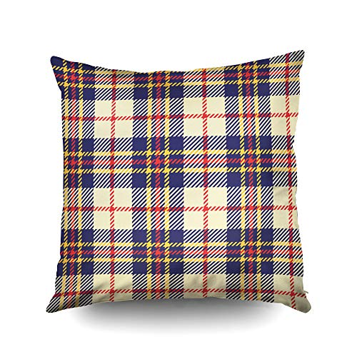 (ROOLAYS Decorative Throw Square Pillow Case Cover 16X16Inch,Cotton Cushion Covers Plaid Fashion Wallpaper Vector Pattern Both Sides Printing Invisible Zipper Home Sofa Decor Pillowcase)