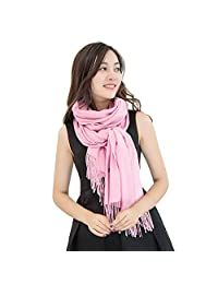 Women Winter Cashmere Scarves Scarf Blend Pashmina Solid Tassel Shawl Wrap