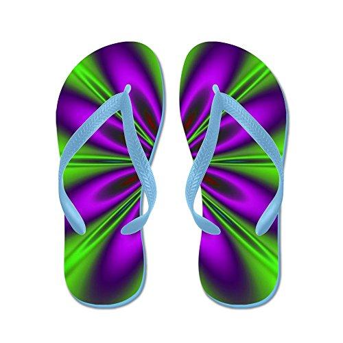 Cafepress Paarse Groene Bloem Door Designeffects - Flip Flops, Grappige String Sandalen, Strand Sandalen Caribbean Blue