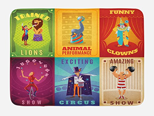 Ambesonne Circus Bath Mat, Circus Characters with Trained Animals Strong Man Trapeze Artist Retro Show Design, Plush Bathroom Decor Mat with Non Slip Backing, 29.5