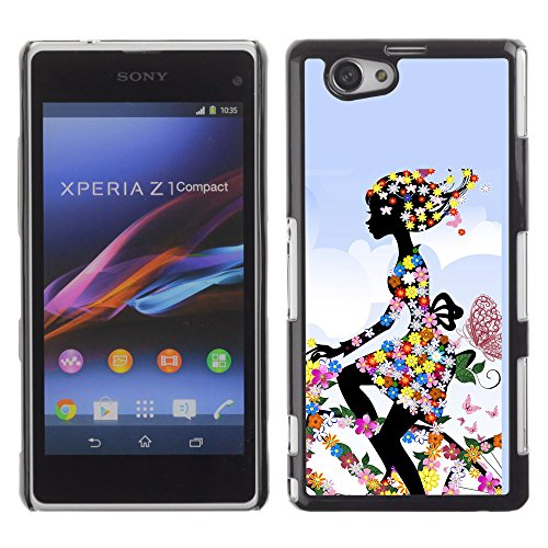 Graphic4You Floral Flower Woman Girl On a Bike Design Hard Case Cover for Sony Xperia Z1 Compact (Mini)