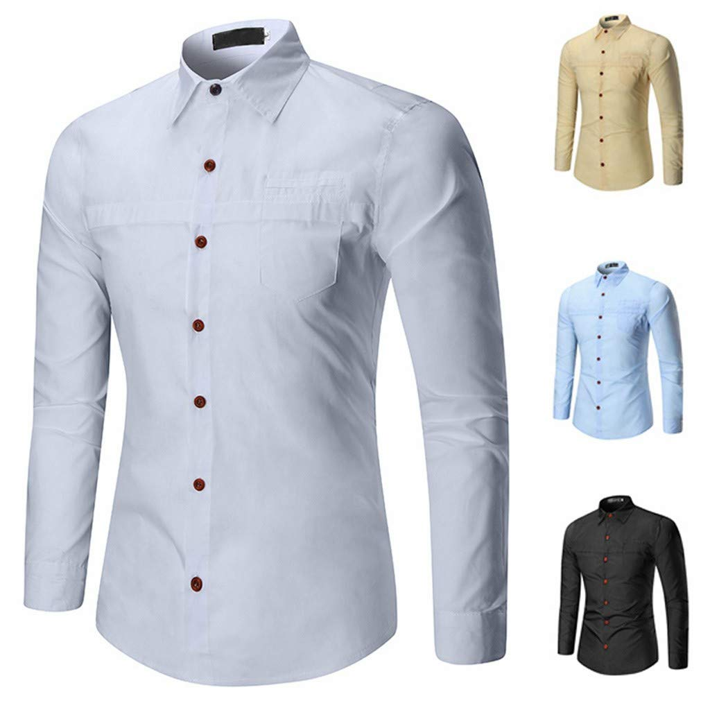 TAGGMY Men Shirts Long Sleeve Solid Color Spring Fashion Casual Slim Fit Button Standing Collar Tops Blouse