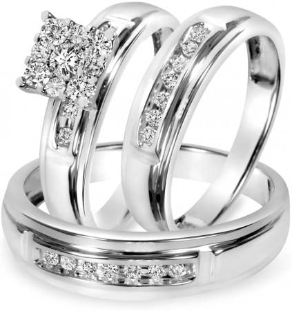 Wedding Ring Bands Trio Bridal Set Silver 925 His Her Mens and Woman Diamonds