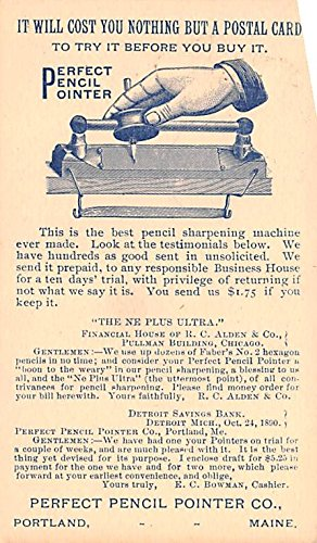 (Pionner Advertising (1893-1898) Old Vintage Antique Post Card Perfect Pencil Pointer Co 1891)