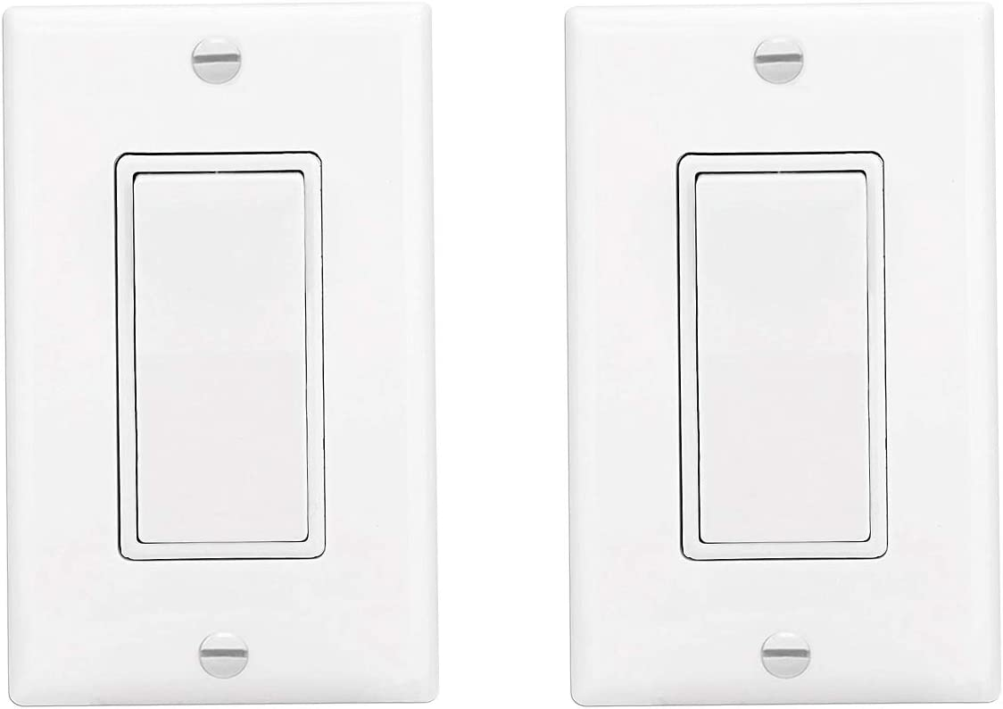 Decora Rocker Single-Pole Light Switch with WallPlate,15 Amp, 120/277 Volt, AC Quiet Switch, Residential Grade, Grounding, White,2Pack