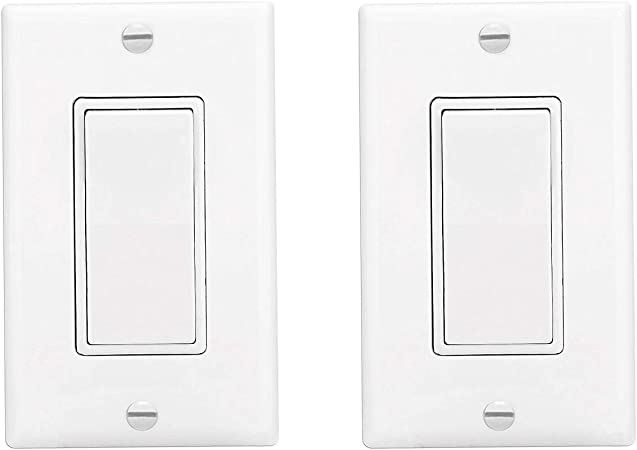 Standard Size Decorative Rocker AC Quiet Switch,Grounding,Residential /& Commercial Grade,White 15-Pack Light Switch On//Off Paddle Wall Switch,15 Amp,120//277 Volt,Single Pole