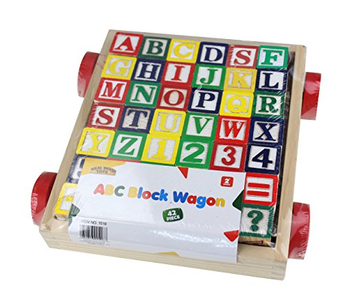 Matty's Toy Stop 42-Piece Classic Wooden ABC/123 Stack and Build Blocks Wagon with Learning Pictures (And Blocks Wood Wagon)