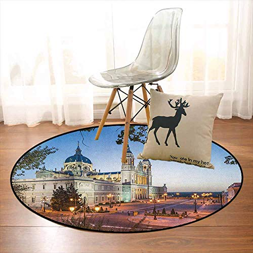 European Multifunction Old Cathedral and Royal Palace in Madrid Mediterrenean City Europe Urban Print Non-Sliding Indoor Carpet D59 Inch Multicolor ()