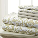 Spirit Linen Hotel 5Th Ave Prestige Home Collection 6 Piece Sheet Set, Queen, Gold Damask