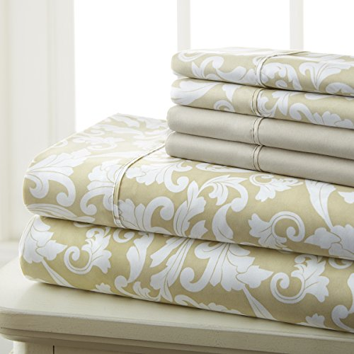 - Spirit Linen Hotel 5Th Ave Prestige Home Collection 6 Piece Sheet Set, Queen, Gold Damask