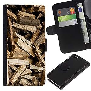 KLONGSHOP // Tirón de la caja Cartera de cuero con ranuras para tarjetas - Registros del patrón de Brown Logger - Apple Iphone 6 //