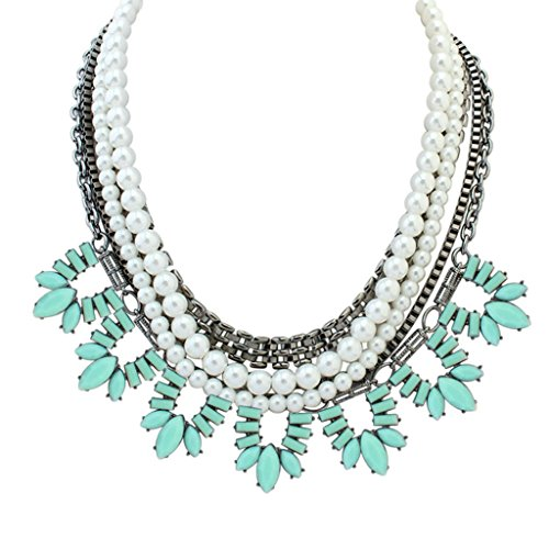 Adisaer Gold Plated Bohemian Statement Necklace for Womens Multilayer Polygon Stone Pearl Light Blue